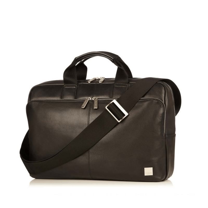 "Knomo Newbury 15"" Leather Laptop Briefcase // Black"
