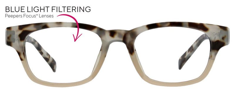 Peepers Layover Reading Glass // gray tortoise/pink