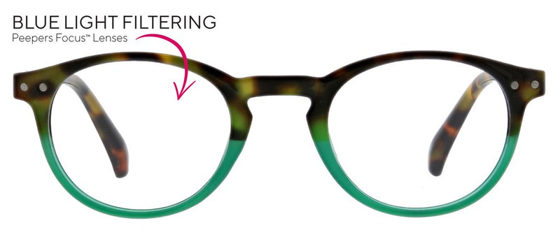 Peepers Book Club Reading Glass // Green/Tortoise
