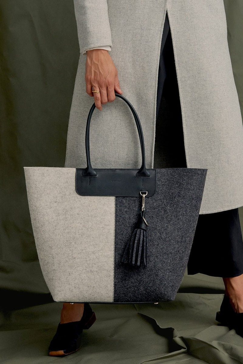 Aiko Tote -Charcoal, heather White felt, Black  Leather
