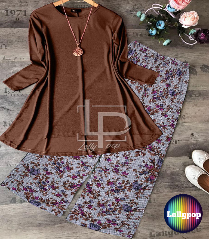 women-brown-kurti-printed-trouser