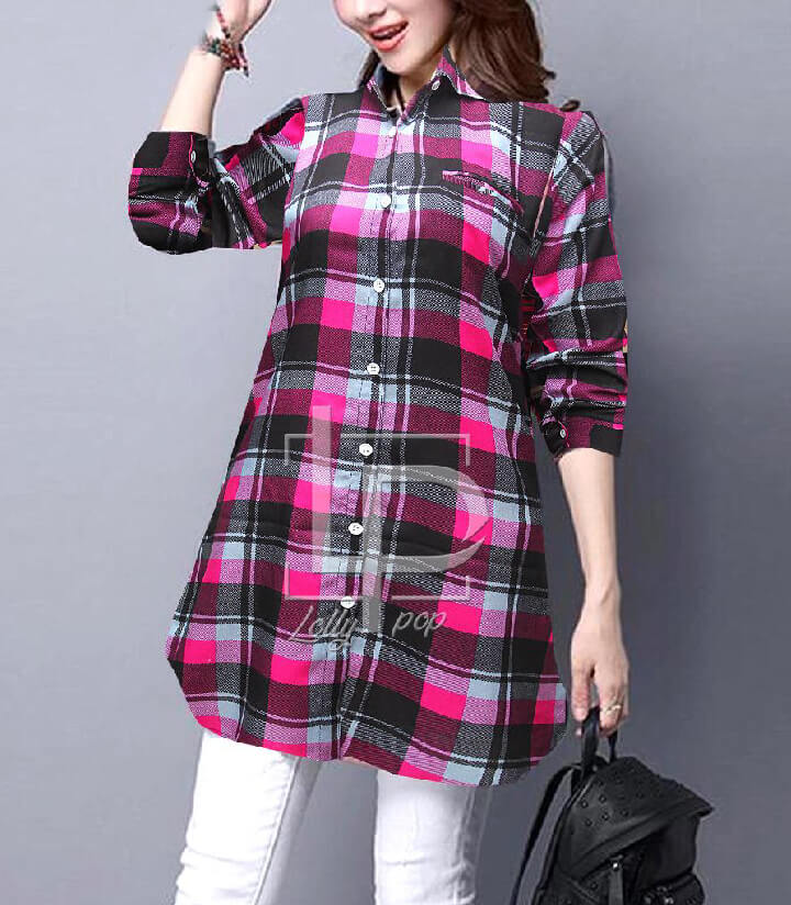 pink-grey-women-checkered-kurti