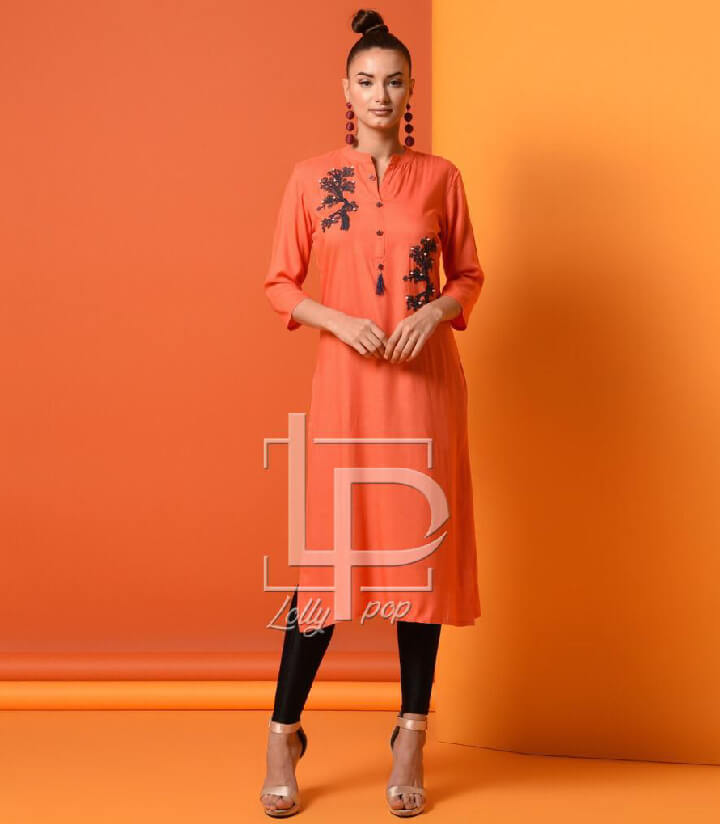 women-embroidered-peach-kurti