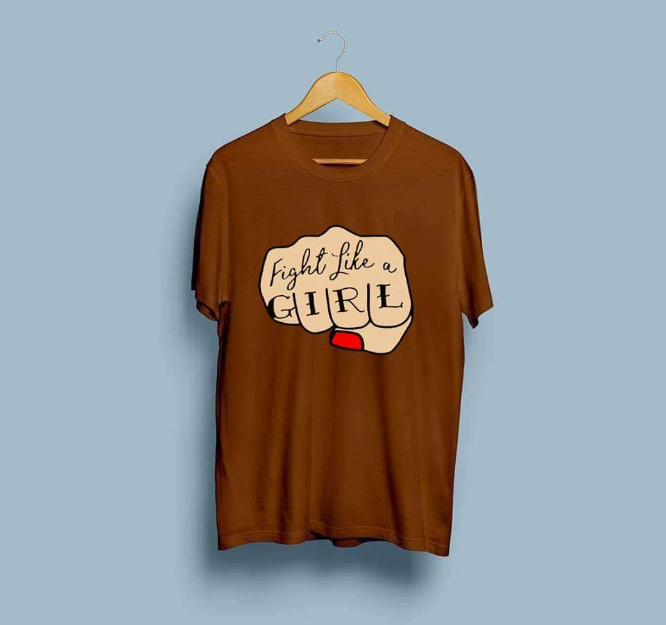 women-brown-printed-cotton-tshirt