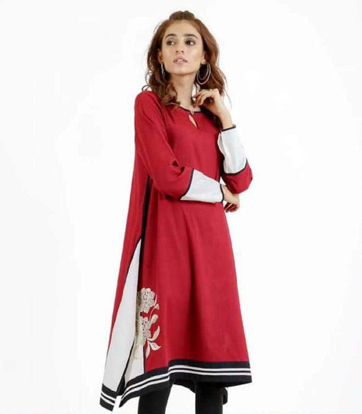 women-red-embroidered-kurti