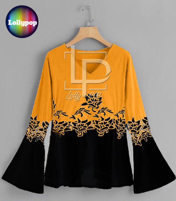 women-printed-yellow-black-kurti