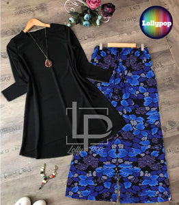 women-black-kurti-blue-printed-trouser
