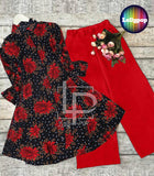 women-printed-black-red-kurti-trouser
