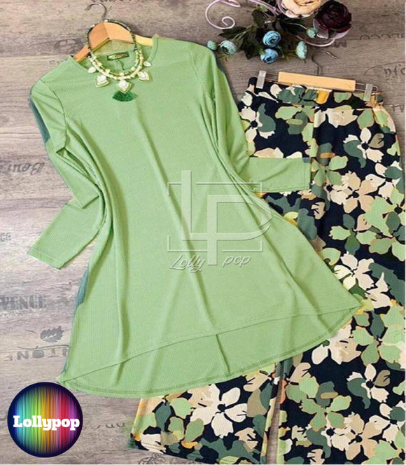women-printed-green-kurti-trouser