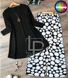 women-printed-black-white-kurti-trouser