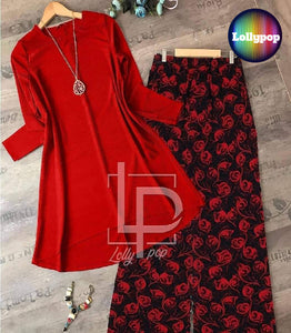 women-red-kurti-printed-trouser