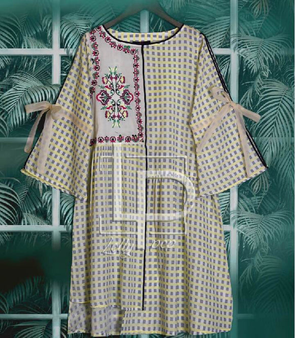 women-embroidered-printed-brown-kurti