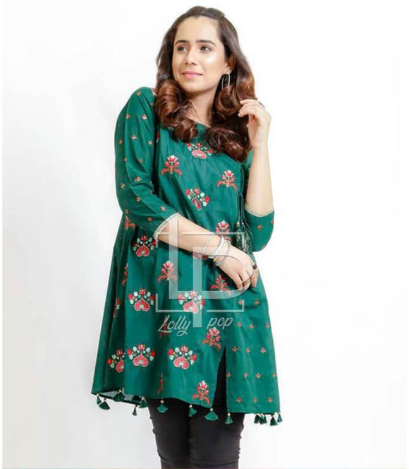 women-embroidered-green-kurti