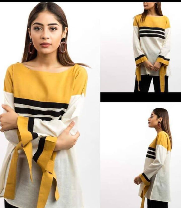 women-plain-white-yellow-kurti