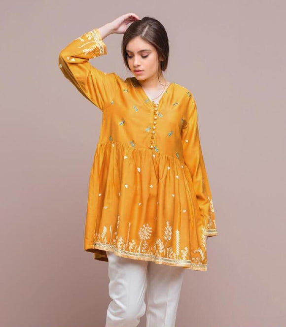 women-embroidered-yellow-kurti