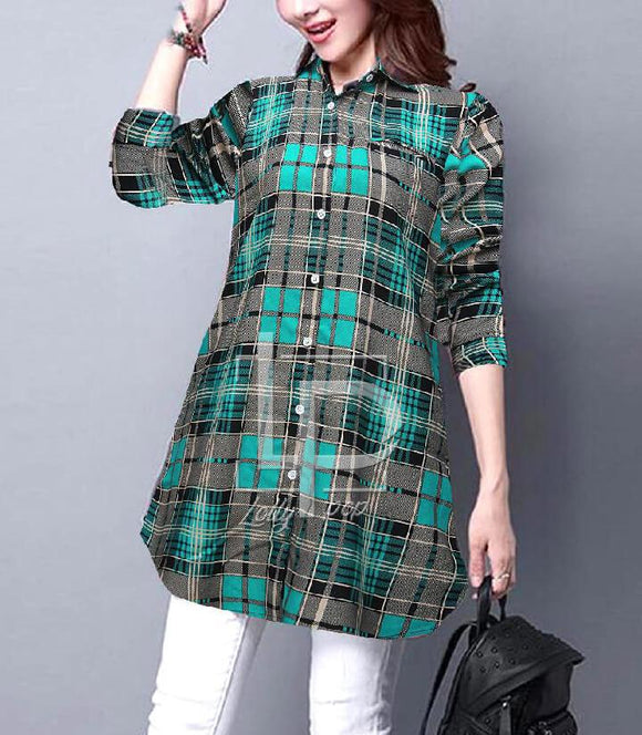 women-checkered-green-black-kurti