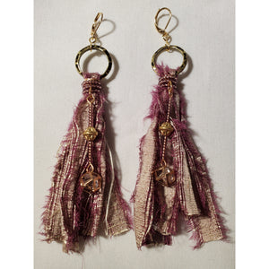 "Earrings - Bojo Sari, Sari Silk with caged crystal by ""In Rose's Garden"""
