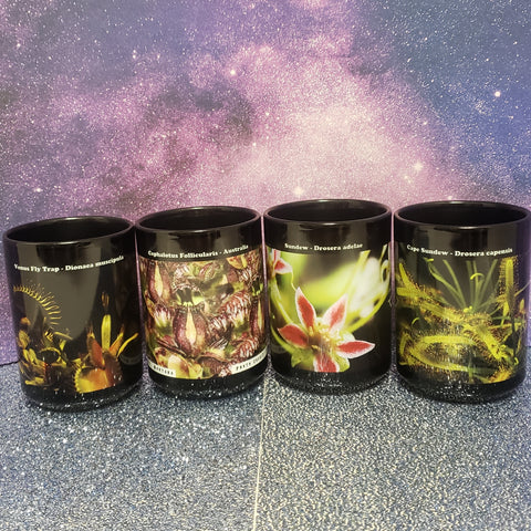 Carnivorous Plant Four 15 ounce Mug Set: Choose either Assorted Set or / ONLY Sarracenia Set With or Without Botanical Captions by LCApplingPhotoArt