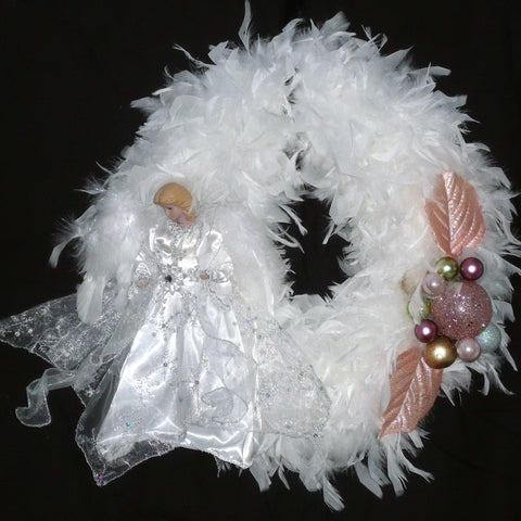 Angels Among Us - White Feather Wreath from Creations by Caron