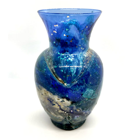 "Blue Lagoon Vase - 7.5"" repurposed glass/ceramic vase by Northern Latitude Gardens of Montana"