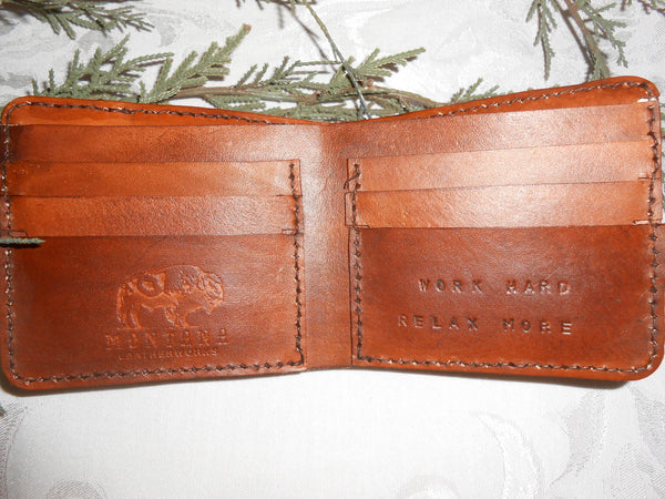 Inside of Handcrafted Personalized Wallet by Montana Leatherworks