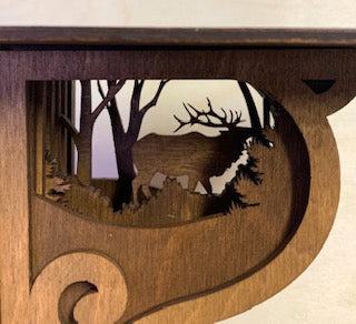 Rustic Wildlife Elk Corbel Shelf