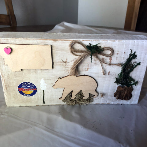 Made in Montana Block Wood Decor from Unique Creations by Wendy