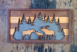 Rustic Wildlife Moose Family Wall Décor