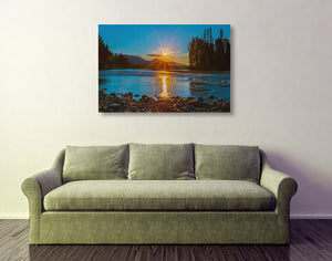 North Fork Sunset Starburst Metal Print by Heaven's Peak Photography