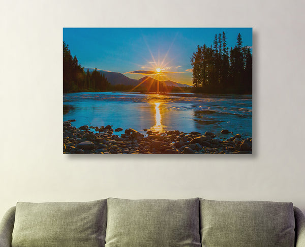 North Fork Sunset Starburst Canvas Print by Heaven's Peak Photography