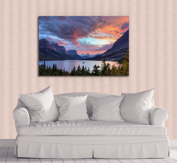 Sunset over St Mary Lake Metal Print by Heaven's Peak Photography
