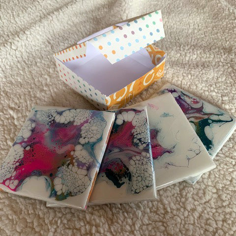 Acrylic Pour Coasters - Bloom Pink/Blue by Krazy Mary's Custom Creations