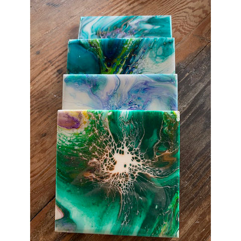 Acrylic Pour Coasters - Bloom Green/Blue by Krazy Mary's Custom Creations