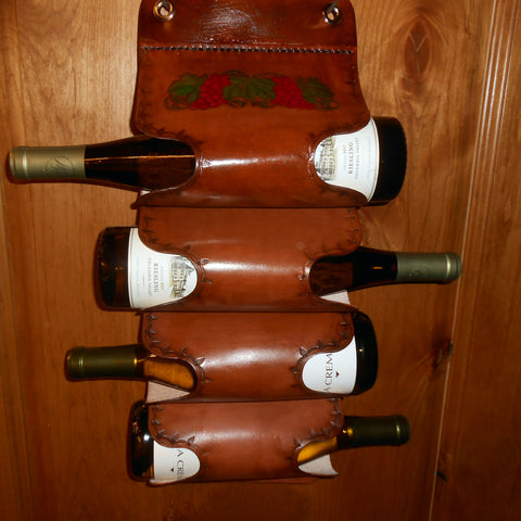 Four Bottle Wine Holder by Montana Leatherworks