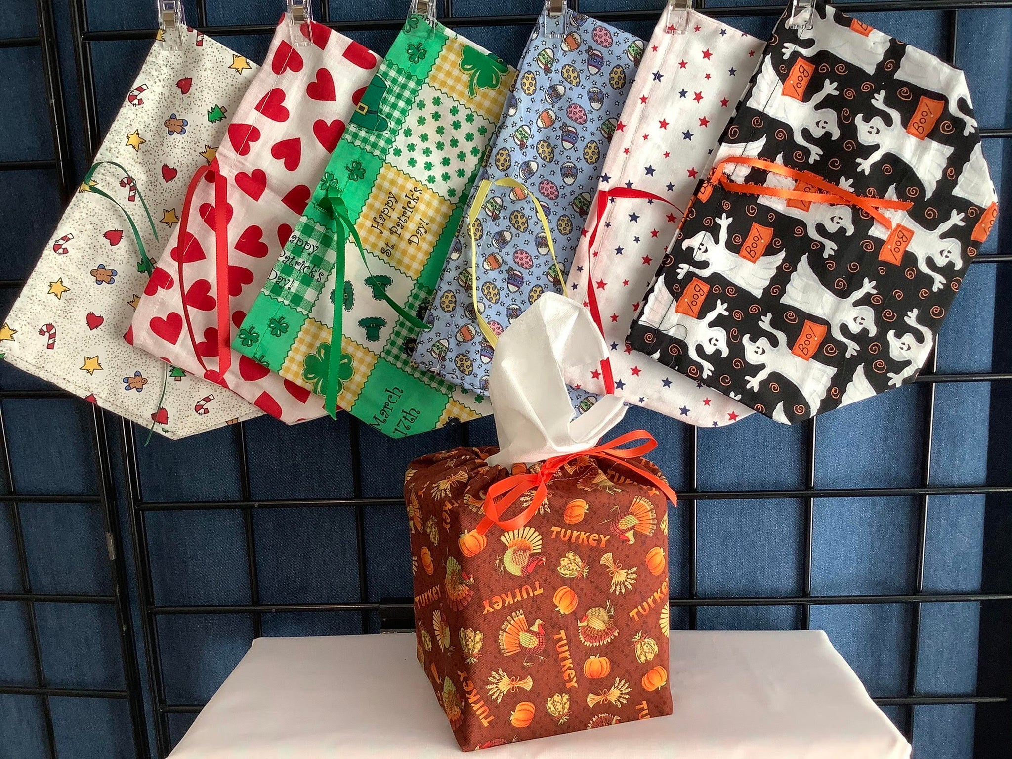 Set of 7 Square Holiday Tissue Box Covers by Three Generation Novelties Kalispell Montana