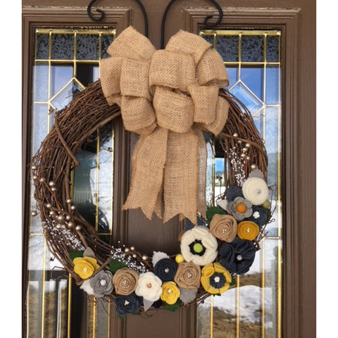 Yellow and Gray Felt Flower All Season Front Door Wreath by Red Poppy Designs