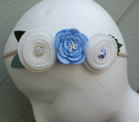 Blue and White Felt Flower Headband by Red Poppy Designs