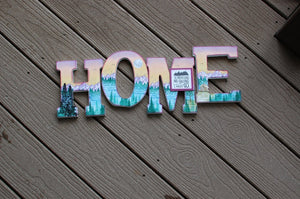 "Wooden HOME Letters - ""The Mountains are Calling""  by Red Poppy Designs"