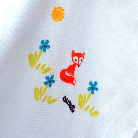 Orange Fox Hand Stamped Baby Onesie - Girl Fox with Flowers Design