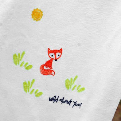 Orange Fox Hand Stamped Baby Onesie - Boy Fox Design