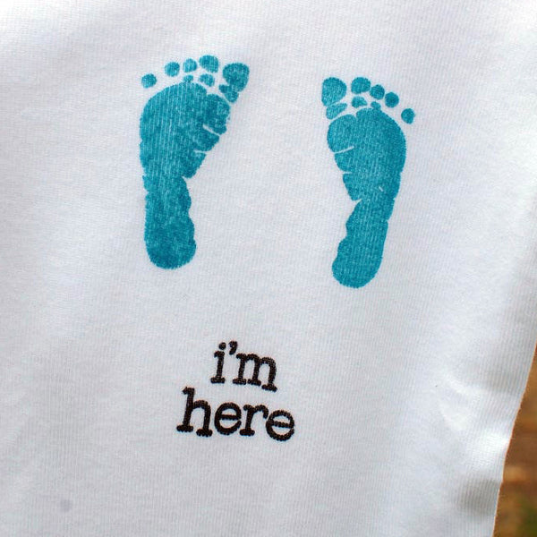 Hand Stamped Newborn Baby Boy Onesie (Size 0-3 months), Blue Footprints by Red Poppy Designs
