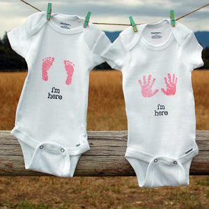 Hand Stamped Newborn Baby Girl Onesie, Pink Handprints or Footprints by Red Poppy Designs