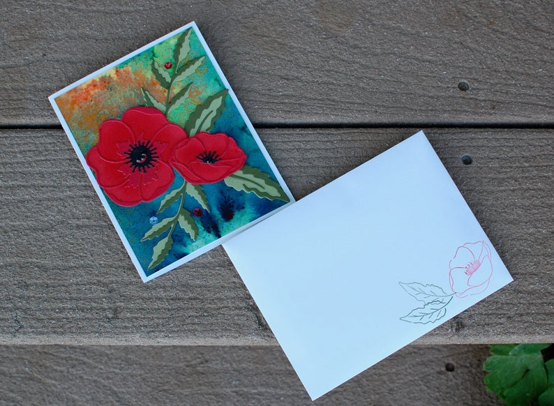 Red Poppy Single Blank Greeting Card with Watercolored Background