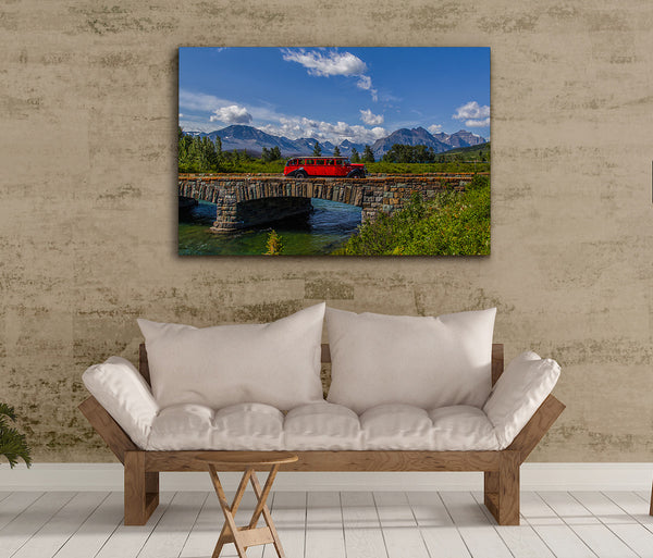 Red Bus at St Mary Bridge Canvas Print by Heaven's Peak Photography