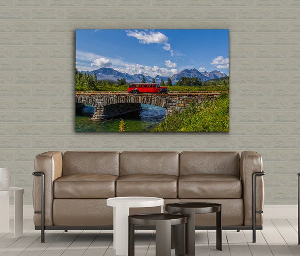 Red Bus at St Mary Bridge Metal Print by Heaven's Peak Photography