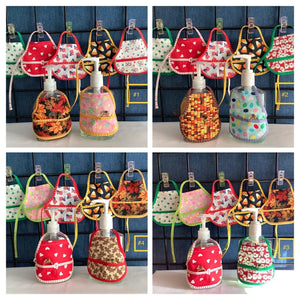 Set of 7 Holiday Hand Soap Sanitizer Bottle Aprons with Front Pocket to hold rings