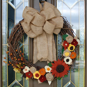 Fall Orange Sunflower Wreath by Red Poppy Designs