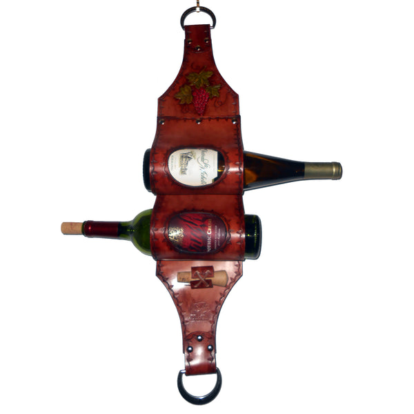 Two Bottle Wine Holder by Montana Leatherworks