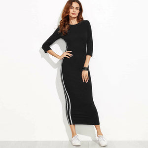 Women Cotton Bodycon Maxi Black Dress