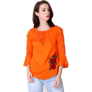 Women Orange Embroidered Straight Top
